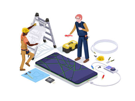 People in the form of mobile phone repair service workers do screen diagnostics and replacement 3d isometric vector illustration design templates. Иллюстрация