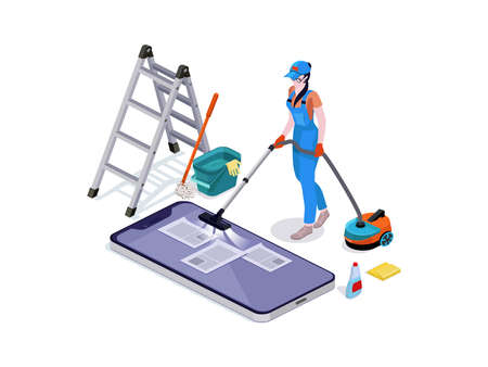 Woman dressed in uniform delete files off from mobiles. cleaning and vacuums, the phone. Professional cleaning service with equipment and staff.Vector isometric isolate