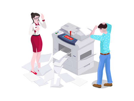 3d isometric man and a woman in the office print and make a photocopier on the printer. Error and breakage of the copier, scattered around the paper. Negative emotions Ilustração