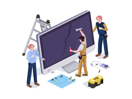 People in the form repair service workers do screen diagnostics and replacement 3d isometric vector illustration design templates. 일러스트