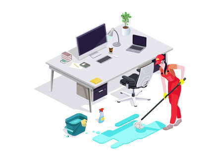 Woman dressed in uniform washes the floor in the office and cleans. Professional cleaning service with equipment and staff.Vector isolate Çizim
