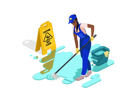 Black girl in work clothes washes the floor with water and equipment.Sign caution wet floor. Professional cleaning company. Vector isometric isolate Illustration