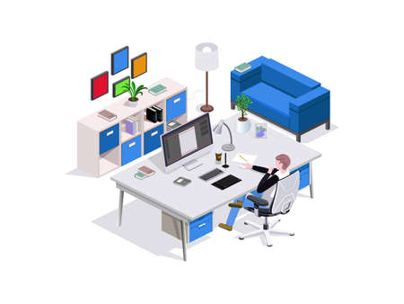 3d isometric composition man study, designer's seat at the table, around the interior furniture and a sofa, home furnishings or office. Vector isometric.