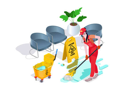 Woman dressed in uniform washes the floor in the office and cleans. Professional cleaning service with equipment and staff.3d isometric composition Vector isolate 스톡 콘텐츠 - 121331590