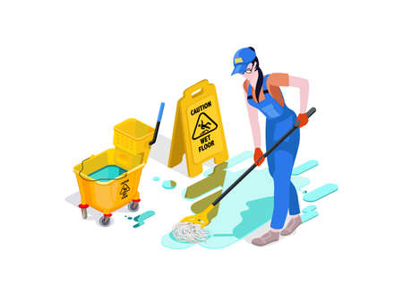 Woman dressed in uniform washes the floor in the office and cleans. Professional cleaning service with equipment and staff. 3d isometric composition Vector isolate 일러스트