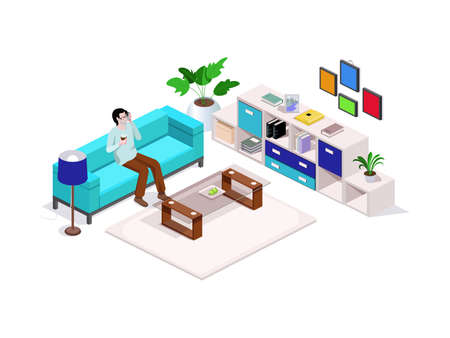 3d isometric composition man sitting on the couch and talking on the phone, around the interior furniture and a sofa, home furnishings or office. Vector isometric. 일러스트