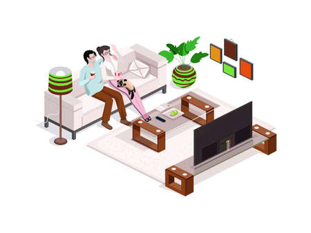 Happy family watching tv at home, interior with furniture. Man and woman on the couch.3d isometric composition.Vector isolate.
