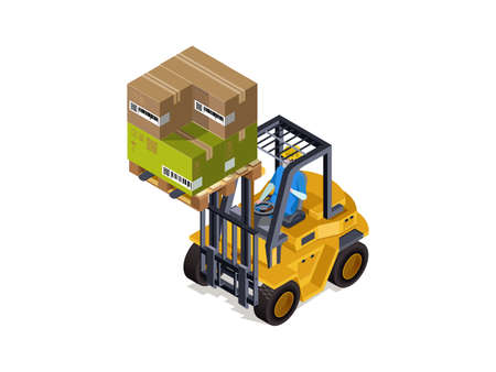 Sorting goods Industrial warehouse with a loader, cargo service. Product sorting technology. 3d isometric composition.Vector isolate. 스톡 콘텐츠 - 121331596