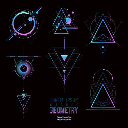 Sacred geometry forms, shapes of lines, logo, sign, symbol. 스톡 콘텐츠 - 121331598