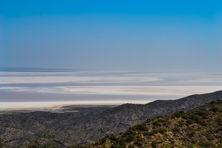 The Great Rann of Kutch, Gujarat from the Mountains Stock Photo
