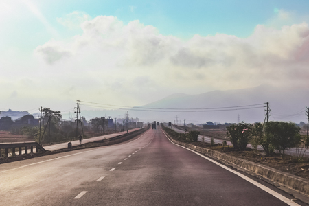 gujarat: National Highway, Roads, and Sky, India Stock Photo