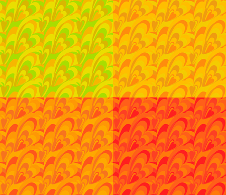 A seamless abstract wavy pattern in the form of hearts and waves. Background in four versions. Illustration