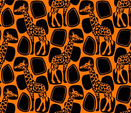 Pattern with giraffes.Vector seamless pattern with giraffes.
