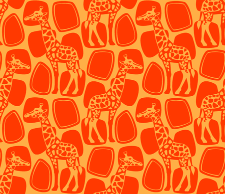 Pattern with giraffes.Vector seamless pattern with giraffes. Vettoriali