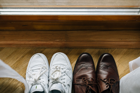 brown men's shoes, wood Archivio Fotografico
