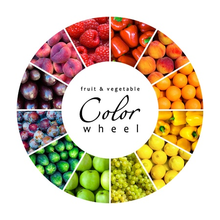 fruit and vegetable color wheel (12 colors) photo