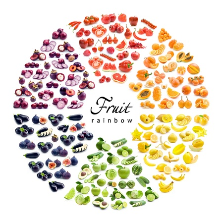 chromatic color: fruit and vegetable color wheel (6 colors) Stock Photo