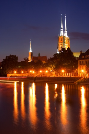 wroclaw cathedral at night photo