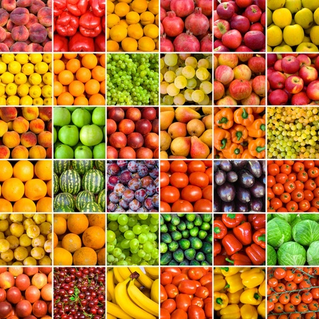 fruit market: collection of fruit and vagetable backgrounds Stock Photo