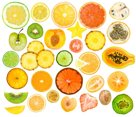 set of different fruits slices