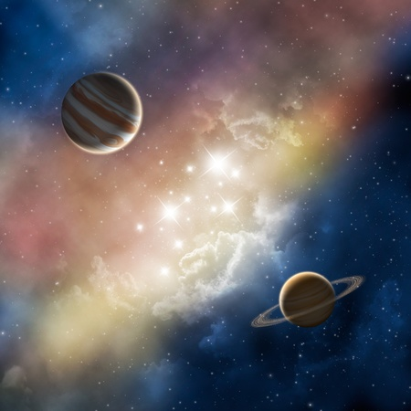 space nebula with planets photo