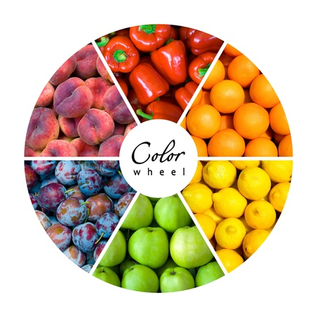 fruit and vegetable color wheel (6 colors) Stock Photo