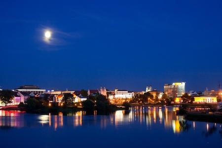 minsk: Minsk (historical center) at night Stock Photo