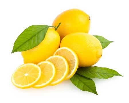 jus de citron: citrons en tranches Banque d'images