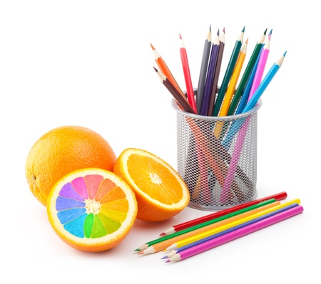 oranges and color pencils concept Stock Photo - 12671095