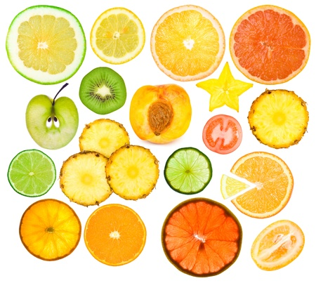 set of different fruits slices photo