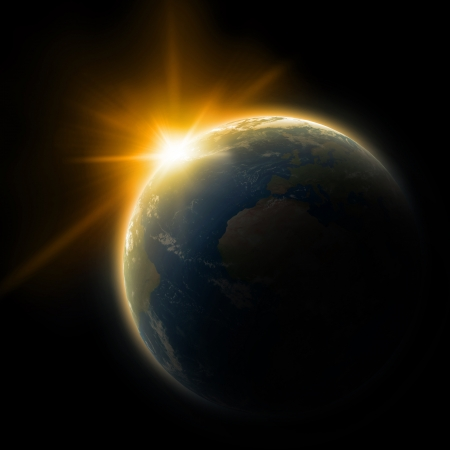 スペースに地球 写真素材