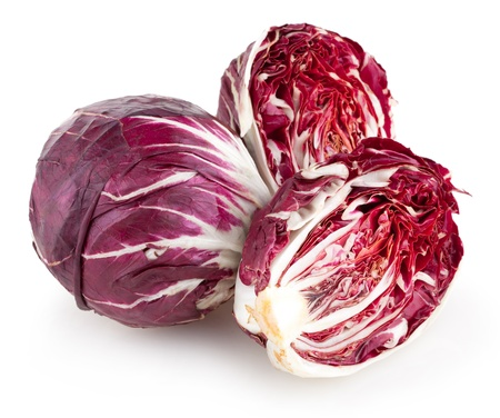 radicchio: red cabbage radiccio isolated on white
