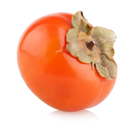 ripe persimmon isolated on white