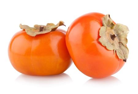 熟した柿を白で隔離
