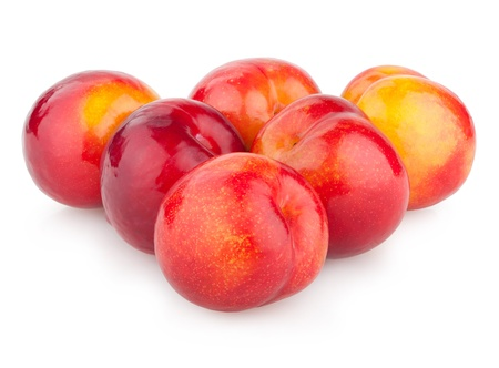 red plums isolated on white Stock Photo