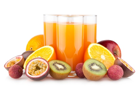 tropical juice with fruits photo