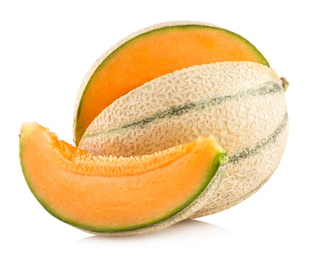 cantaloupe melon isolated on white background 版權商用圖片 - 21777161