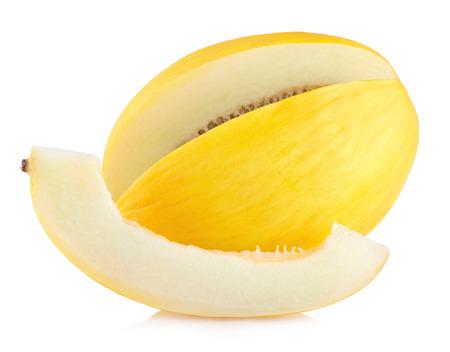 honingdauw meloen geïsoleerd op een witte achtergrond Stockfoto