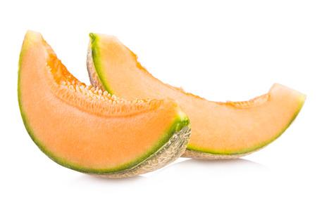 cantaloupe melon slices isolated on white background Stock Photo