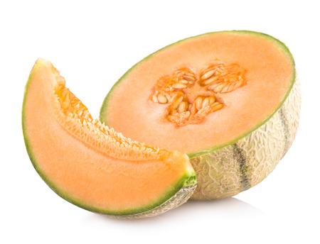 cantaloupe melon isolated on white background Banco de Imagens