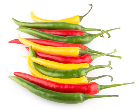 cayenne: colorful chili peppers isolated on white background Stock Photo