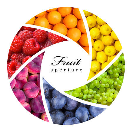 fruit backgrounds as an aperture shutter - healthy eating concept 免版税图像 - 27372878