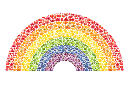 fruit and vegetable rainbow - healthy eating concept Stock Photo