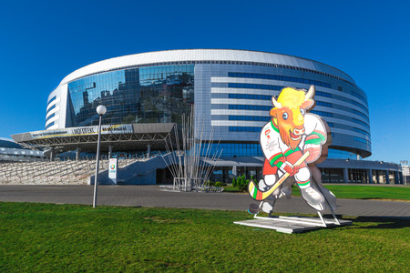 Minsk Arena - the main arena for 2014 Ice Hockey World Championship (April, 2013). Minsk, Belarus.