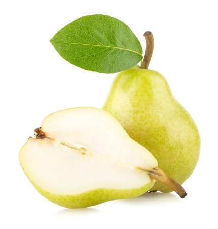 ripe green pears isolated on white background