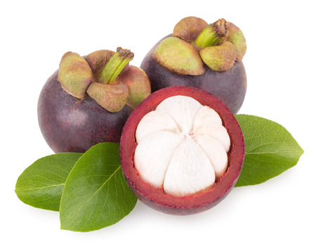ripe mangosteen isolated on white background Stock Photo