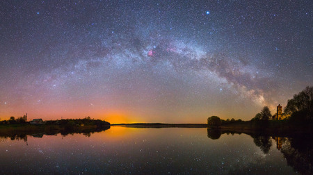 milky: Bright Milky Way over the lake at night (panoramic photo) Stock Photo
