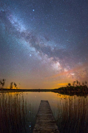 milky: Bright Milky Way over the lake at night