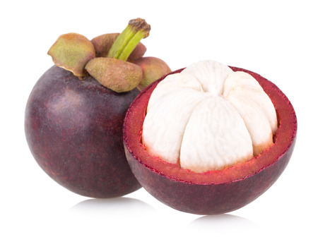 ripe mangosteen isolated on white background Standard-Bild