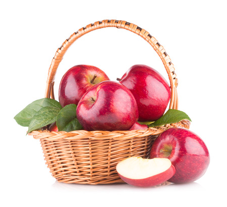 basket: red apples in a basket Stock Photo